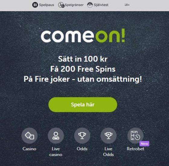 ComeOn Bonuskod - Sport och kasino
