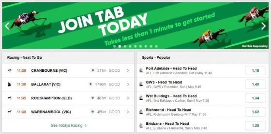 TAB sign up offer for sports