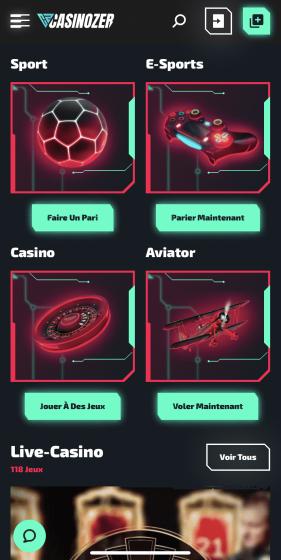 Casinozer mobile