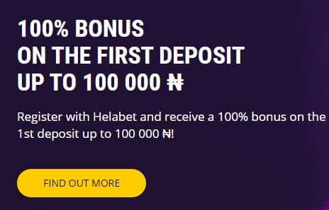 Welcome Offer using the Helabet promo code