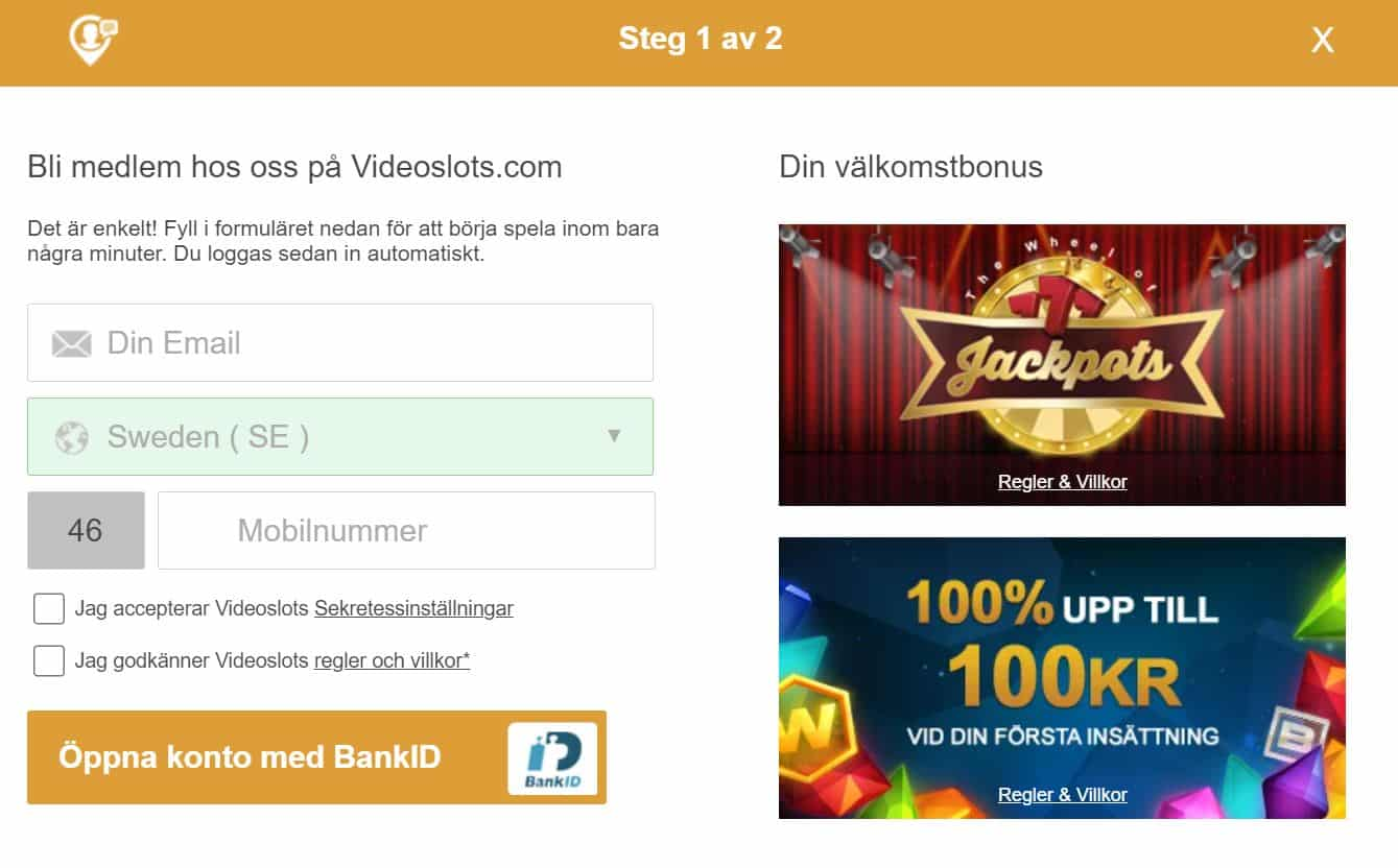 Videoslots Bonuskod & villkor